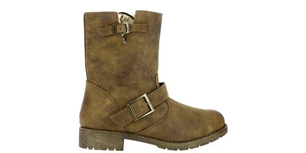 Dámske svetlo hnedé topánky s kožúškom Shoes and the City