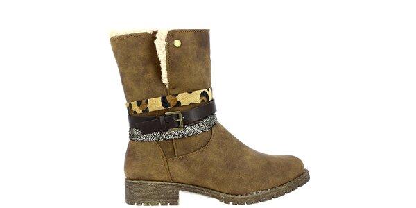 Dámske svetlo hnedé topánky s kožúškom a dekoratívnymi remienkami Shoes and The…