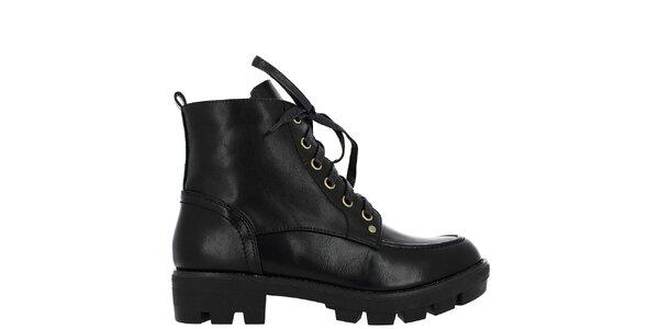 Dámske čierne šnurovacie členkové topánky Shoes and the City