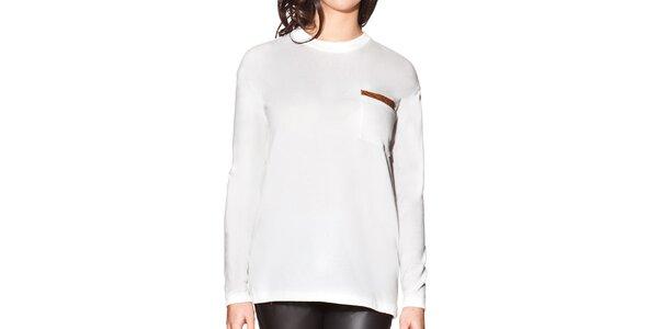 Dámske biele predĺžené tričko s vreckom na hrudi Joana and Paola