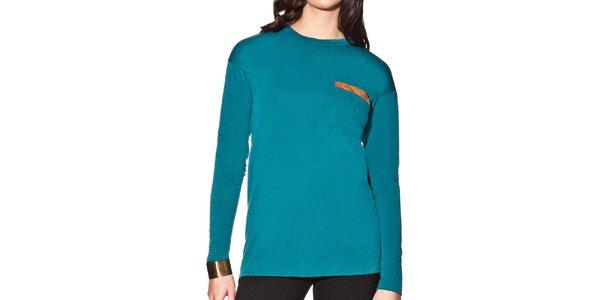 Dámske tyrkysové predĺžené tričko s vreckom na hrudi Joana and Paola