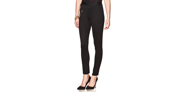 Dámske čierne nohavice so zipsami Joana and Paola