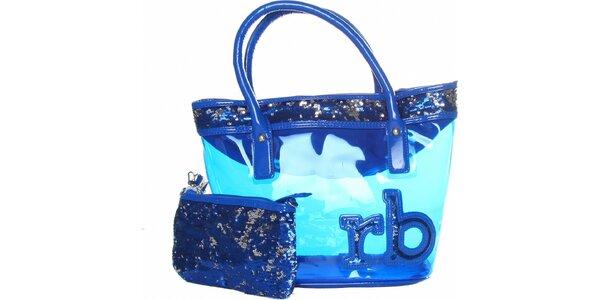 Dámska žiarivo modrá transparentná kabelka Roccobarocco