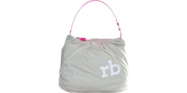 Dámska svetlo šedá nylonová kabelka Roccobarocco s ružovým uchom