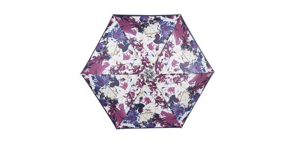 Dámsky malý skladací dáždnik s modro-fialovým kvetinovým vzorom Ferré Milano