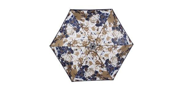 Dámsky malý skladací dáždnik s modrými a béžovými kvetmi Ferré Milano