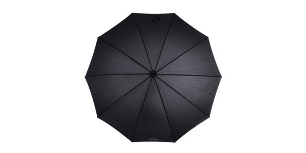 Dámsky čierny dáždnik s bambusovou rukoväťou Ferré Milano