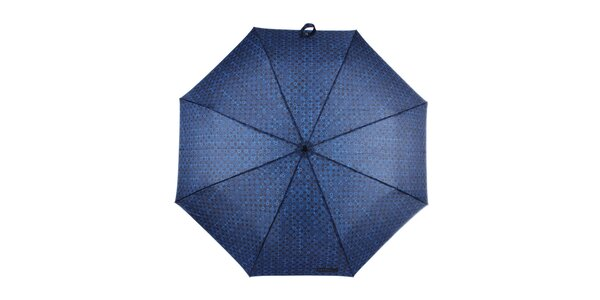 Pánsky modrý skladací dáždnik so vzorom Ferré Milano