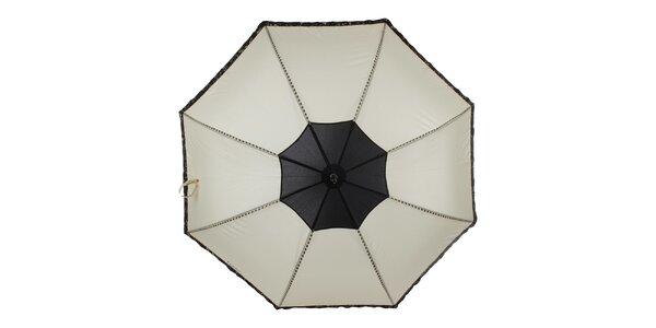 Dámsky béžovo-čierny vystrelovací dáždnik Ferré Milano