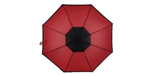 Dámsky červeno-čierny vystrelovací dáždnik Ferré Milano