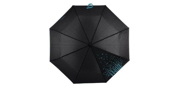 Dámsky čierny skladací dáždnik s modrým nápisom Ferré Milano