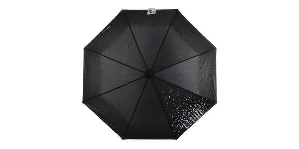 Dámsky čierny skladací dáždnik s bielym nápisom Ferré Milano