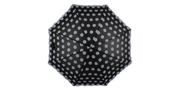 Dámsky čierny vystrelovací dáždnik s bodkami Ferré Milano