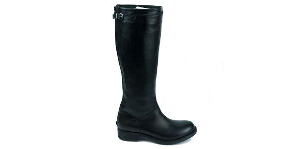 Dámske čierne kožené čižmy Moda Italiana