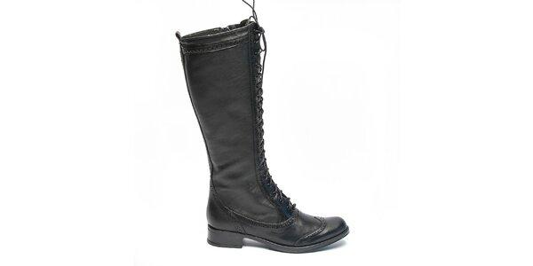 Dámske čierne čižmy so šnurovaním Moda Italiana