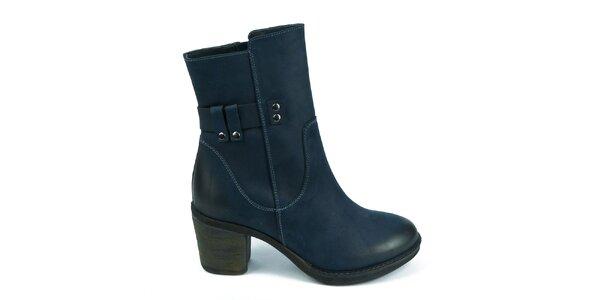 Dámske modré topánky na zips Moda Italiana