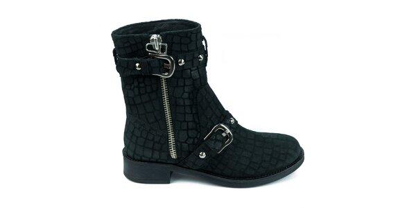 Dámske čierne semišové topánky so šupinkami Moda Italiana