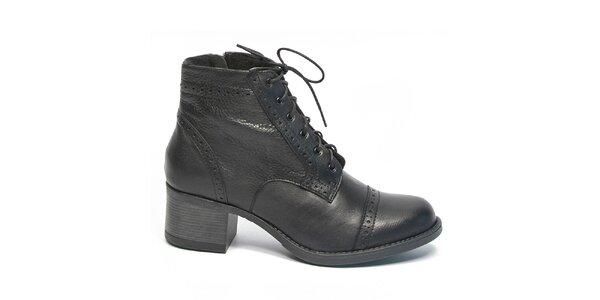 Dámske čierne členkové topánky so šnúrkami Moda Italiana
