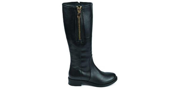 Dámske čierne čižmy s dvomi zipsami Moda Italiana