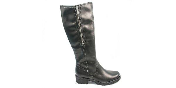 Dámske čierne čižmy s kožúškom Moda Italiana