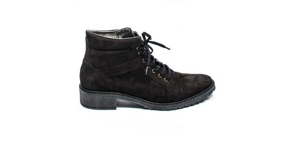 Čierne členkové topánky so šnúrkami Moda Italiana