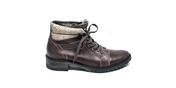 Tmavo šedé členkové topánky so šnurovaním Moda Italiana