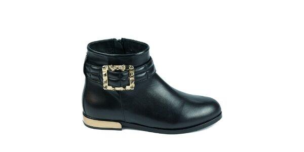 Dámske čierne členkové topánky s ozdobnou prackou Moda Italiana