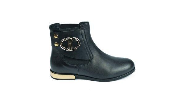 Dámske čierne členkové chelsea topánky Moda Italiana