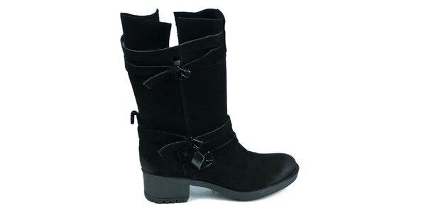 Dámske čierne semišové topánky Moda Italiana