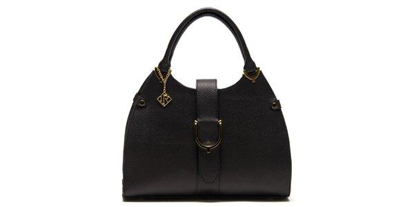 Dámska čierna kožená kabelka s remienkom Isabella Rhea