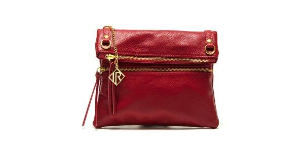 Dámska červená kabelka so zlatými zipsami Isabella Rhea