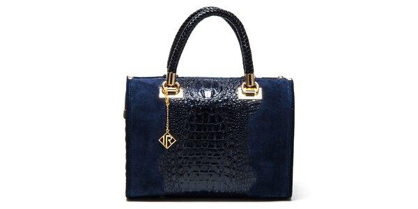 Dámska modrá kabelka so vzorom krokodílej kože Isabella Rhea