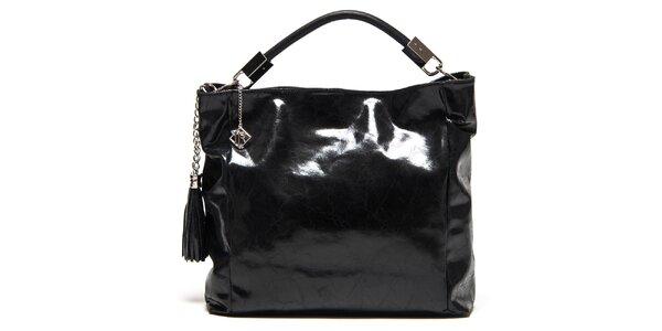 Dámska lesklá čierna kabelka so strapcami Isabella Rhea
