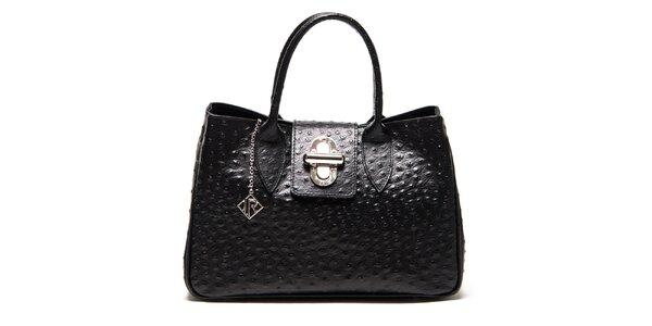 Dámska čierna kabelka s motívom pštrosej kože Isabella Rhea
