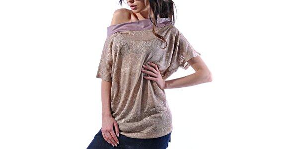 Dámske zlatavé vzorované tričko Female Fashion
