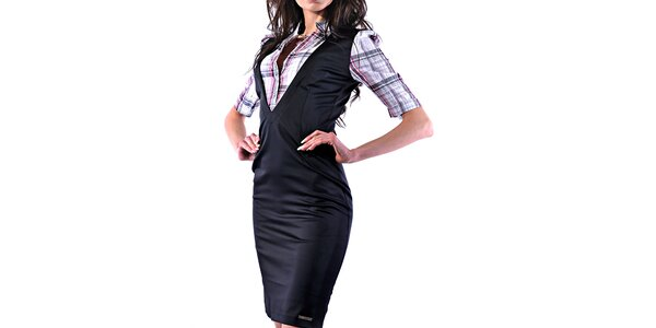 Dámske lesklé púzdrové šaty s košeľou Female Fashion