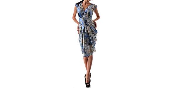 Dámske lesklé šaty so vzorom v modrej farbe Female Fashion