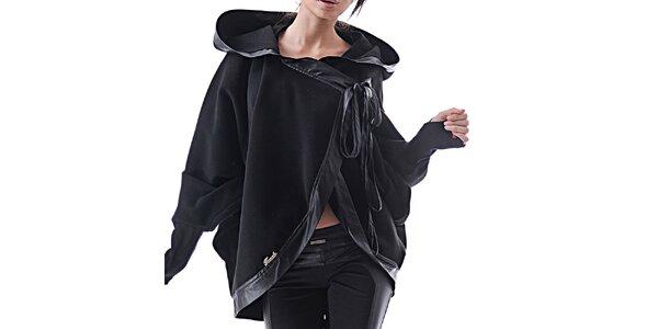 Dámske čierne kašmírové pončo Female Fashion