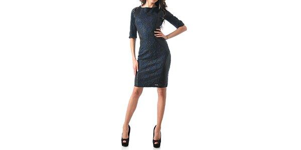 Dámske čierno-modré šaty s ružami Female Fashion