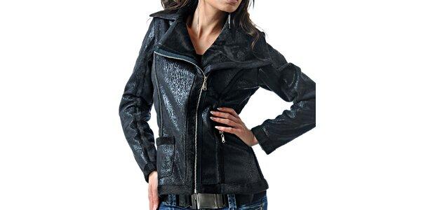 Dámska čierna bunda s leskom Female Fashion