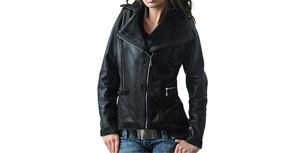 Dámska čierna bunda Female Fashion