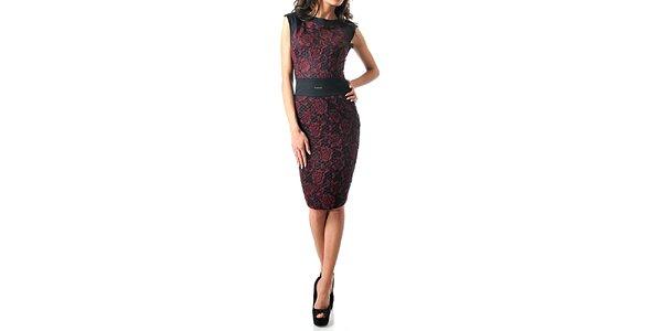 Dámske tmavé šaty bez rukávov s červenými ružami Female Fashion