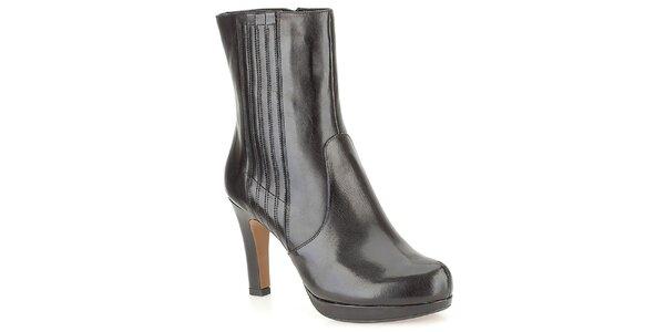 Dámske čierne elegantné členkové topánky Clarks