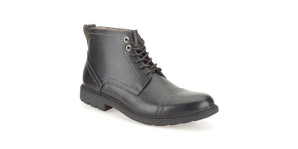 Pánske čierne kožené členkové topánky Clarks