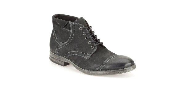 Pánske čierne kožené prešívané topánky Clarks