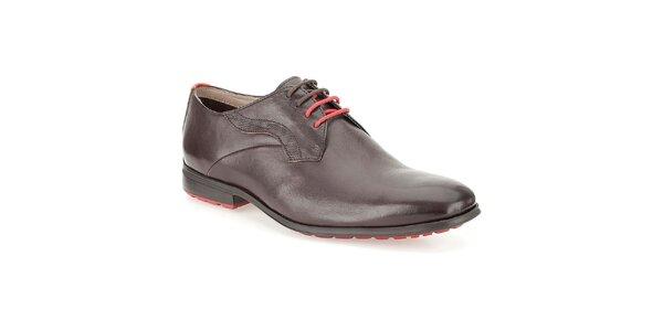 Pánske hnedé lakované kožené topánky Clarks