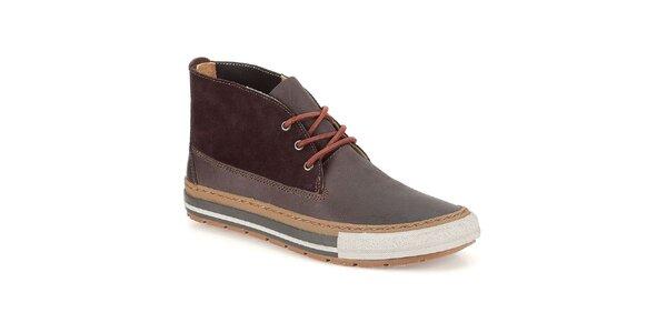 Pánske tmavo hnedé topánky so šnúrkami Clarks