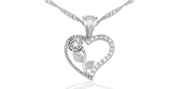 Dámsky strieborný náhrdelník so srdiečkom a ružou Elite Goby