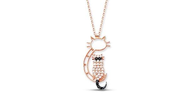 Dámsky strieborný náhrdelník s mačičkou Elite Goby