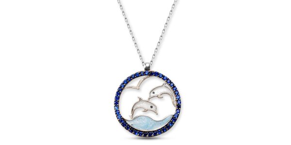 Dámsky strieborný náhrdelník s delfínikmi Elite Goby